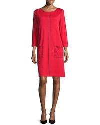 Vestito a trapezio con borchie rosso