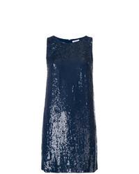 Vestito a trapezio con paillettes blu scuro