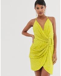 Vestito a trapezio con paillettes giallo di ASOS DESIGN