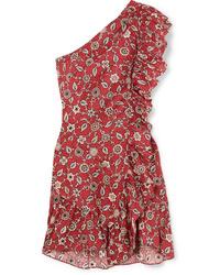 Vestito a trapezio con stampa cachemire rosso