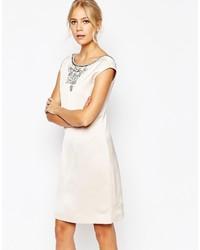 Vestito a trapezio decorato bianco