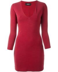 Vestito a trapezio di lana rosso di Dsquared2
