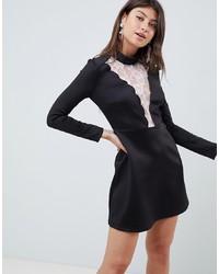 Vestito a trapezio di pizzo nero di ASOS DESIGN