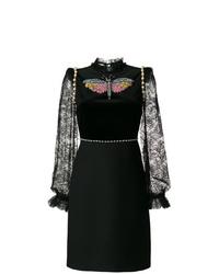 Vestito a trapezio di pizzo nero di Gucci