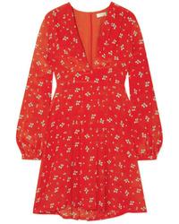 Vestito a trapezio di seta a fiori rosso di RIXO