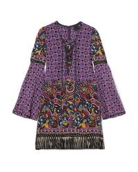 Vestito a trapezio di seta con stampa cachemire viola di Anna Sui