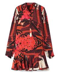 Vestito a trapezio di seta stampato rosso di Alexander McQueen