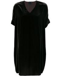Vestito a trapezio di velluto nero di Aspesi