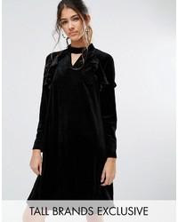 Vestito a trapezio di velluto nero