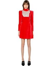 Vestito a trapezio di velluto rosso