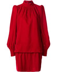 Vestito a trapezio di velluto rosso di Marc Jacobs
