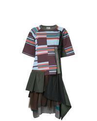 Vestito a trapezio geometrico multicolore di Kolor