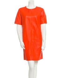 Vestito a trapezio in pelle arancione