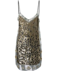 Vestito a trapezio leopardato argento