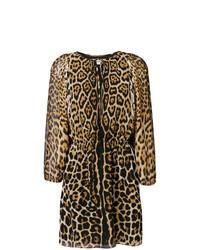 Vestito a trapezio leopardato marrone chiaro