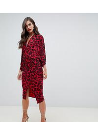 Vestito a trapezio leopardato rosso