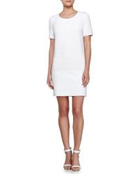 Vestito a trapezio testurizzato bianco
