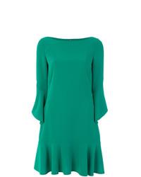 Vestito a trapezio verde di Talbot Runhof