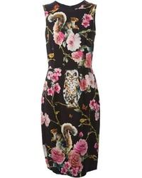 Vestito a tubino a fiori nero