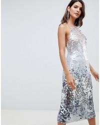 Vestito a tubino con paillettes argento di ASOS DESIGN