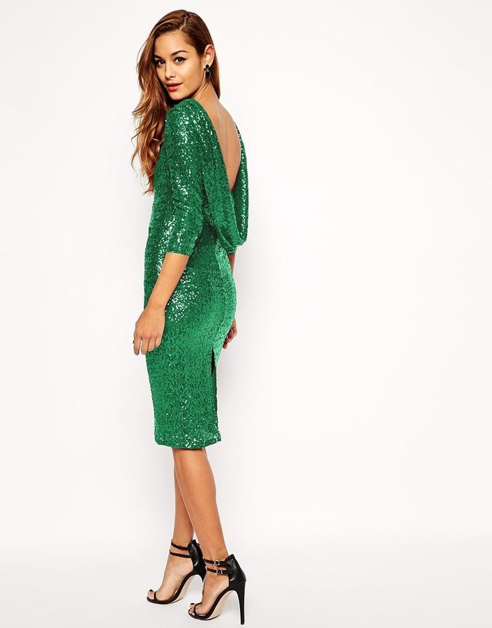 8ae00d4740c4 ... Vestito a tubino con paillettes verde di Asos ...
