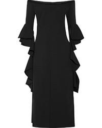 Vestito a tubino con volant nero