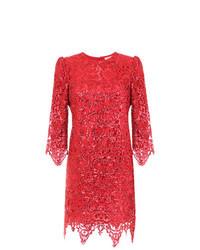 Vestito a tubino di pizzo rosso