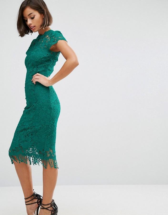 buy online 7800f ab6f2 €58, Vestito a tubino di pizzo verde di Paper Dolls