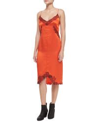 Vestito a tubino di seta arancione