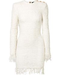 Vestito a tubino di tweed bianco di Balmain