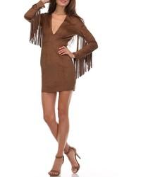 Vestito a tubino in pelle scamosciata marrone scuro