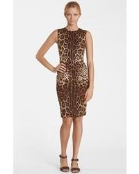 Vestito a tubino leopardato marrone
