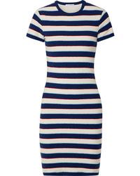 Vestito aderente a righe orizzontali bianco e blu scuro di James Perse