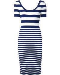 Vestito aderente a righe orizzontali bianco e blu scuro di Michael Kors