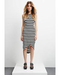 Vestito aderente a righe orizzontali nero e bianco