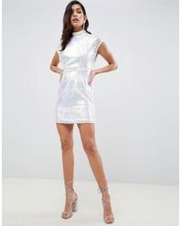 Vestito aderente con paillettes argento di ASOS DESIGN