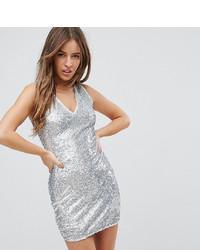 Vestito aderente con paillettes argento di Parisian Petite