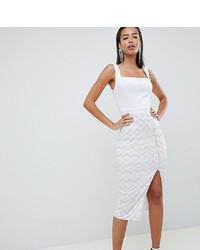 Vestito aderente con paillettes bianco