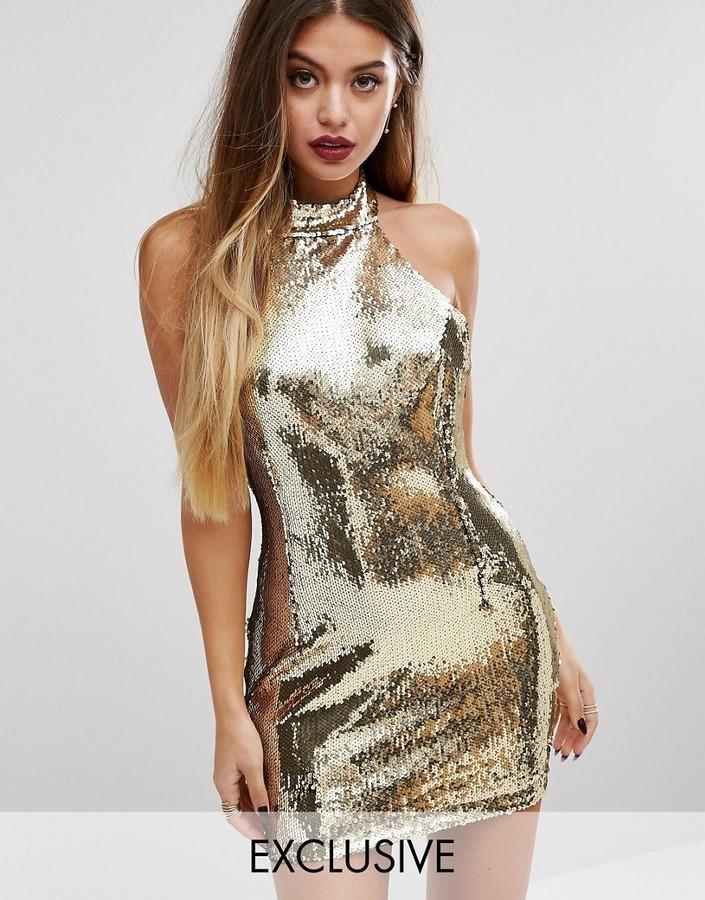 Vestito aderente con paillettes dorato di PrettyLittleThing