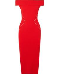 Vestito aderente decorato rosso di Mugler