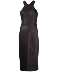 Vestito aderente in pelle nero