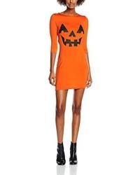Vestito aderente stampato arancione di Boohoo