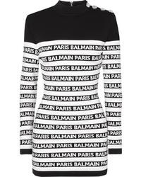 Vestito aderente stampato nero e bianco di Balmain