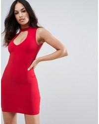 ffa528694549 ... Vestito aderente tagliato rosso di New Look