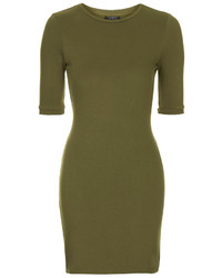 Vestito aderente verde oliva