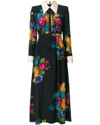 Vestito chemisier a fiori nero di Gucci