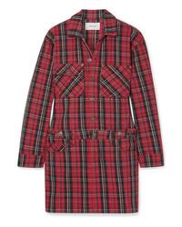Vestito chemisier a quadri rosso di Current/Elliott