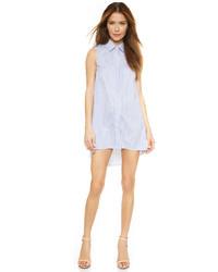 Vestito chemisier a righe verticali blu
