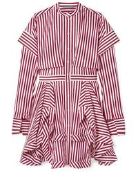 Vestito chemisier a righe verticali rosso di Alexander McQueen