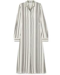 Vestito chemisier di seta a righe verticali bianco di Jil Sander